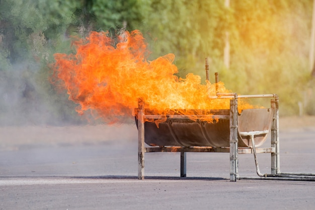 The flame on a big tray,fire on container for fire training event