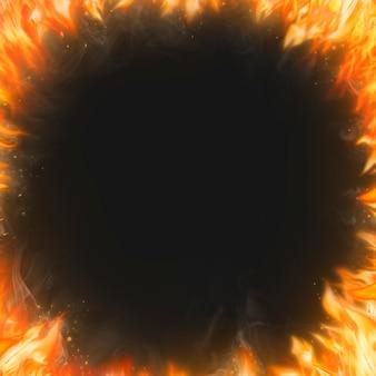 Фон рамки пламени, черное реалистичное изображение огня