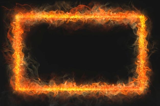 Рамка пламени, форма прямоугольника, реалистичный горящий огонь