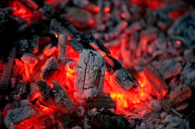 Flame and hot coals, lake of the woods, ontario, canada