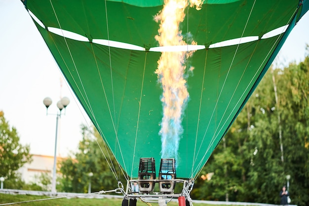 The flame inside the balloon