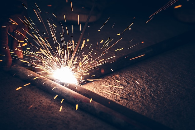 Flame sparks are caused by welding.