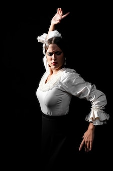 Flamenca performing and looking down