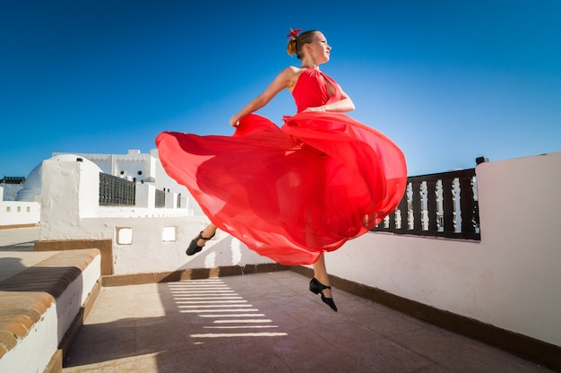 Flamenco dancer leaping