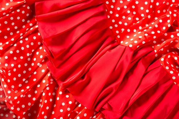 Flamenco dancer red dress with spots macro