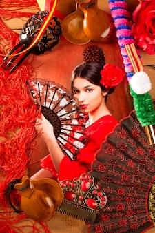 Фламенко женщина с тореадором и типичной испанией espana