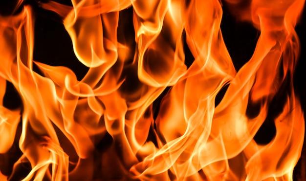 黒の背景に火の炎火の謎