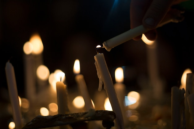 Flaming candles like small bulbs