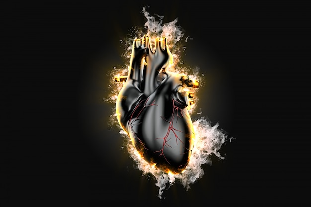 Flaming human heart over dark background