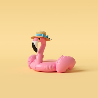 Flamingo float on yellow wall minimal concept.
