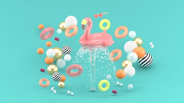 Flamingo rubber ring floating on fountain surrounded by colorful rubber rings on blue. 3d render