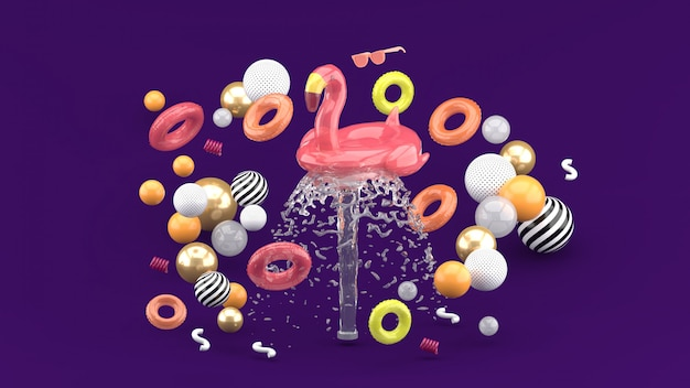 Flamingo rubber ring floating on fountain surrounded by colorful rubber rings on purple. 3d render