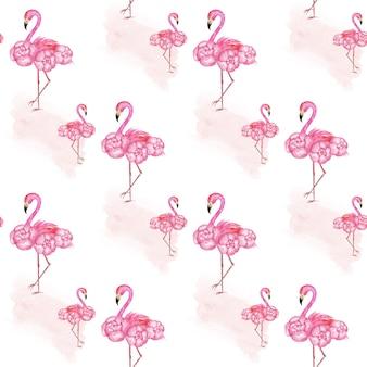 フラミンゴシームレスパターン、ピンクの紙、トロピカルスクラップブック紙