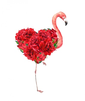 Flamingo with floral heart - red rose flowers. unusual watercolor for valentine day