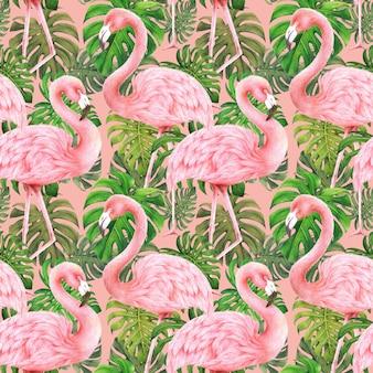 フラミンゴとモンステラの葉ピンクの背景にシームレスパターン
