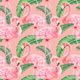 Flamingos and banana leaves on pink background
