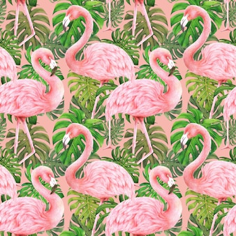 Flamingos and monstera leaves seamless pattern on pink background