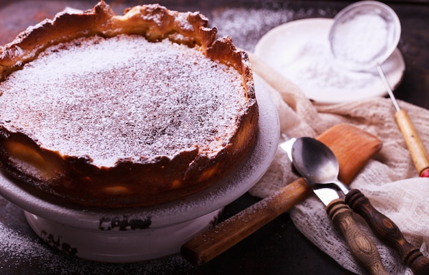 Flan at home, sprinkled with powdered sugar