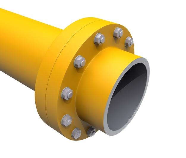 너트와 볼트가 있는 플랜지 가스 파이프. 3d 그림 흰색 배경에 고립입니다.