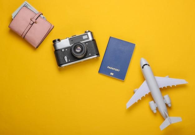 Flaplane figurine, passport, wallet with dollars, camera.