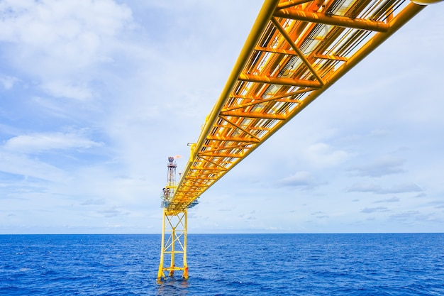 Flare bridge from gas production platform in offshore