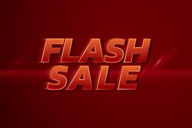 Vendita flash shopping 3d neon velocità testo rosso tipografia illustrazione