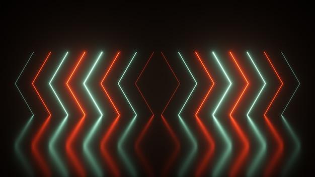 点滅する明るいネオン矢印が点灯し、方向を示して消えます。抽象的な背景、レーザーショー。ネオンの色は、アクアメンテと緑豊かな溶岩の光のスペクトルの傾向です。 3 dイラスト