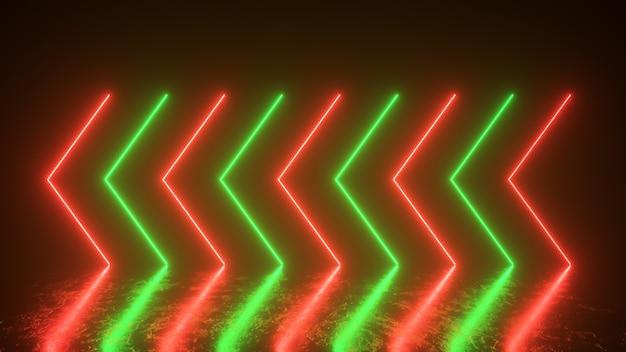 Мигающие яркие неоновые стрелки загораются и гаснут, указывая направление на отражающий пол. абстрактный фон, лазерное шоу. ультрафиолетовый неоновый зеленый красный спектр света. 3d иллюстрация