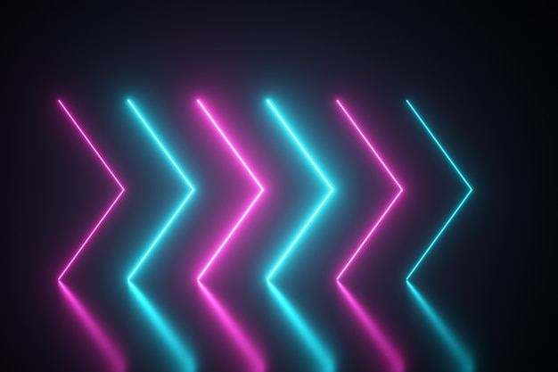Flashing bright neon arrows light up and go out indicating the direction on the reflective floor. abstract background, laser show. ultraviolet neon blue violet light spectrum. 3d illustration