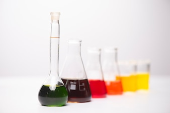 Flask of water solution in science laboratory
