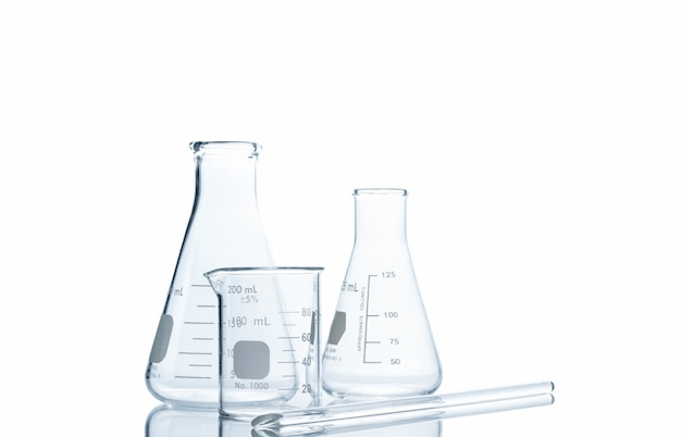 Flasks and measuring beaker for science experiment