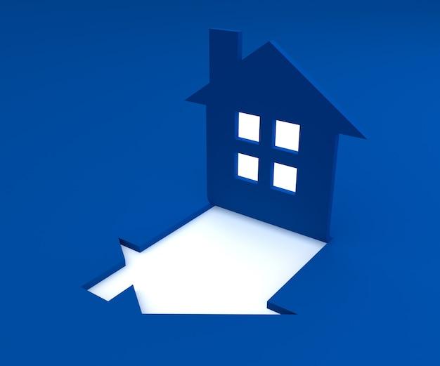 平らな青い家のロゴの3 dレンダリング