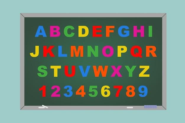 녹색 배경에 칠판 위에 알파벳 장난감 자기 글자의 평면 개념적 그림