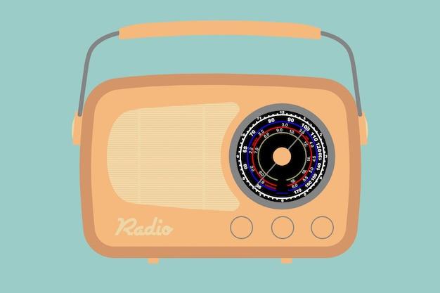 녹색 배경에 근접 촬영 빈티지 라디오의 평면 개념적 그림