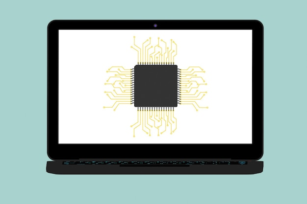 녹색 배경에 마이크로 칩과 현대 노트북의 평면 개념 설명
