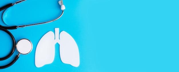 컬러 배경에 인간 폐의 평면 더미. 코로나 바이러스 또는 폐렴 발병 개념.