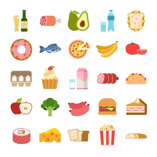 플랫 음식 아이콘입니다. 메뉴 계획 요소, 과일 및 야채, 음료, 치즈 및 빵, 우유 및 알코올, 고기, 건강에 해로운 해산물 먹는 맛있는 스낵 벡터 플랫 만화 격리된 컬러 세트