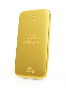 Flat golden bar isolated on white