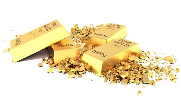 Плоские золотые слитки на белом фоне
