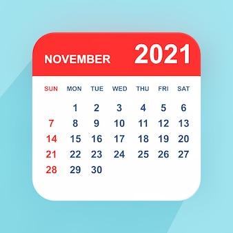 青い背景の上のフラットアイコンカレンダー2021年11月。 3dレンダリング