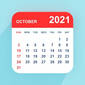 青い背景の上のフラットアイコンカレンダー2021年10月。 3dレンダリング