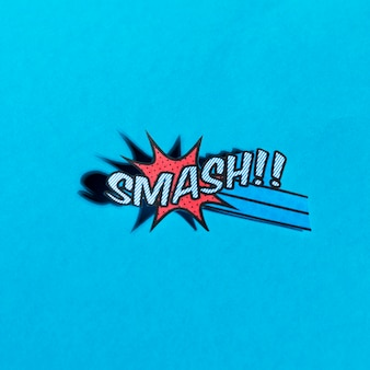 Flat illustration of comic boom smash vector icon for web on blue background