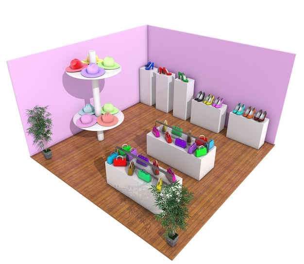 Flat isometric casual female customer in fashion boutique, shoes, accessory shop 3d render.