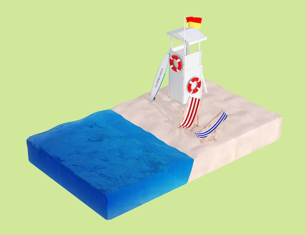 Flat isometric piece of beach with lifeguard tower, beach chairs and surfboard on a green background. 3d rendering