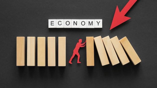 金融危機のフラットレイ抽象的な品揃え
