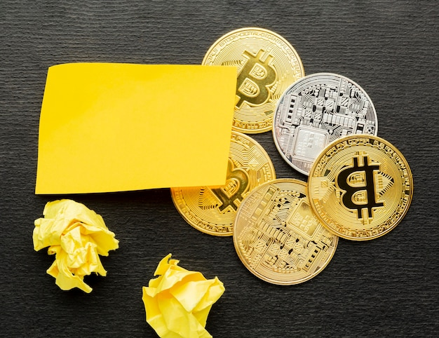 Flat lay abstract innovation assortment with bitcoins
