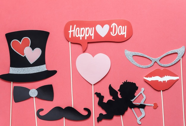 Плоский лежащий воздушный образ знака дня влюбленных