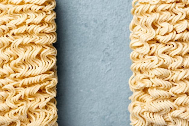 Flat lay aligned uncooked noodles