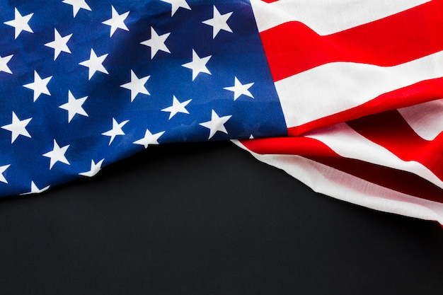 Flat lay of american flag