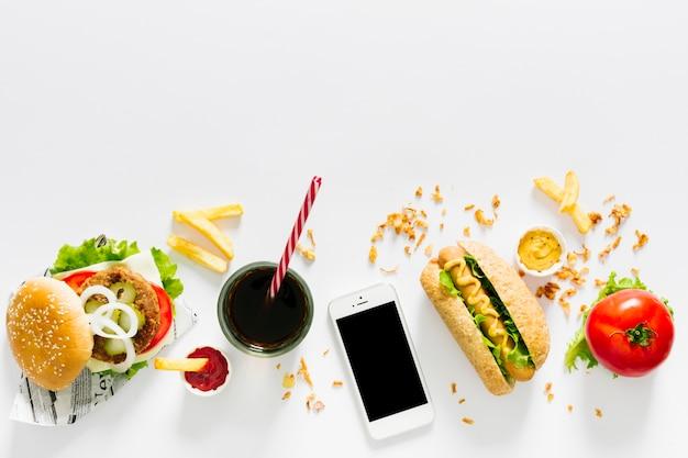 Плоская планировка американской еды концепция с copyspace